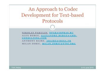 An Approach to Codec Development for Text-based ... - TTCN-3