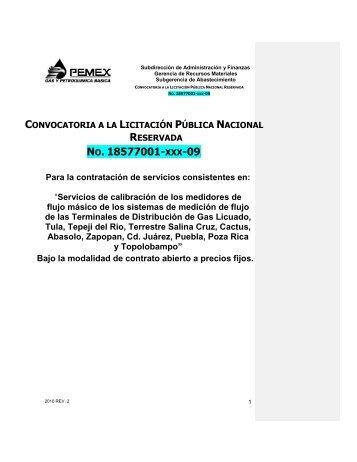 CONVOCATORIA A LA LICITACIÓN PÚBLICA NACIONAL ...