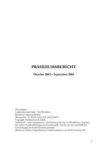 präsidiumsbericht - Hochschule Fulda