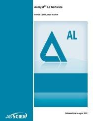 Analyst® 1.6 Software Manual Optimization Tutorial - AB Sciex