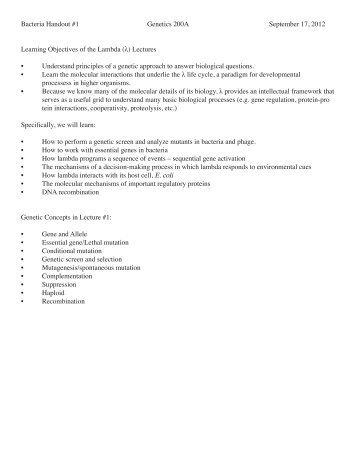 Bacteria Handout #1 Genetics 200A September 17, 2012 Learning ...