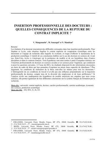 INSERTION PROFESSIONNELLE DES DOCTEURS ... - Inra