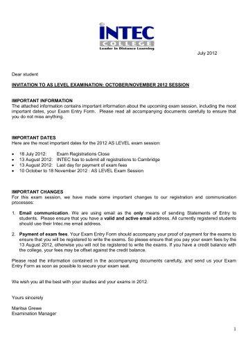 as level exam entry form - INTEC College