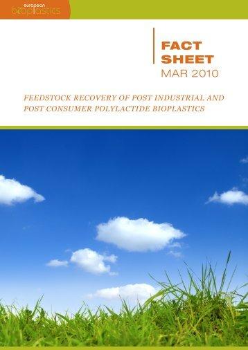 FactSheet Feedstock Recovery - European Bioplastics