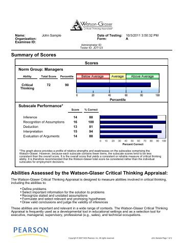 watson-glaser critical thinking appraisal (wgcta) - form a answers