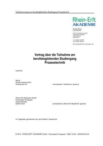 Vertrag über die Teilnahme am berufsbegleitenden Studiengang ...