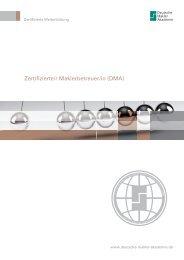 Zertifizierte/r Maklerbetreuer/in (DMA) - Deutsche Makler Akademie