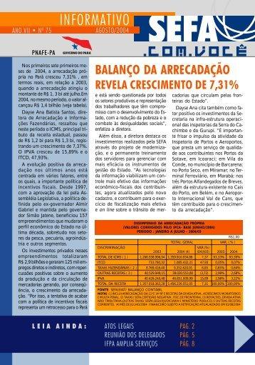 Informativo nº 75 - Agosto - Sefa - Governo do Estado do Pará