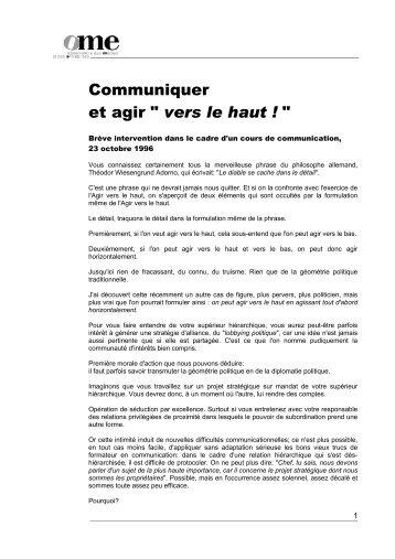 """Communiquer et agir """" vers le haut ! """" - Stéphane Haefliger Sociologue"""