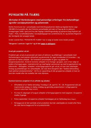 "Vedr: Projekt ""Psykiatri på Tværs"" - Herlev Kommune"