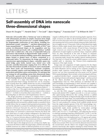 Self-assembly of DNA into nanoscale three-dimensional shapes