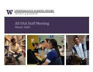 Winter 2009 All-UAA Meeting Presentaton - University of Washington