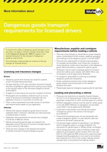Dangerous goods transport requirements for ... - WorkSafe Victoria