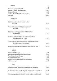 Aperitif € Glas Sekt mit Holundersaft 3,00 Martini - bianco ... - Dirs21