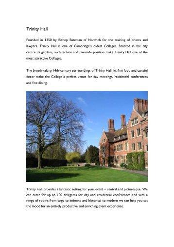 Day Meeting Brochure - Trinity Hall