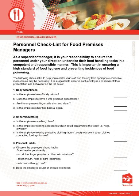 Personnel Check-List for Food Premises Managers