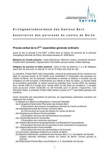 Procès-verbal de l'assemblée 2007 - beim Kirchgemeindeverband ...