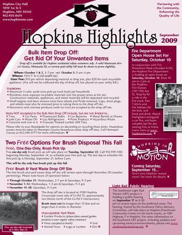 Hopkins Highlights - September 2009 - City of Hopkins