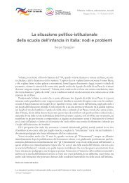 La situazione politico-istituzionale della scuola dell'infanzia in Italia ...
