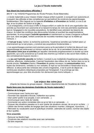 Jeux et langage à l'école maternelle - Circonscription de GAP ...
