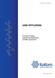 Rapport: AMK-opplæring, Forslag til faglig opplæring ... - KoKom