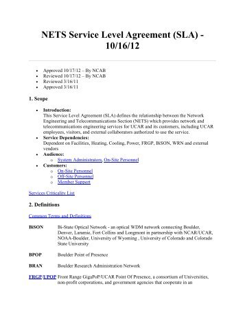 NETS Service Level Agreement (SLA) - 10/16/12