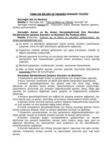 türk ısı bilimi ve tekniği derneği tüzüğü - TIBTD::.. Türk Isı Bilimi ve ...