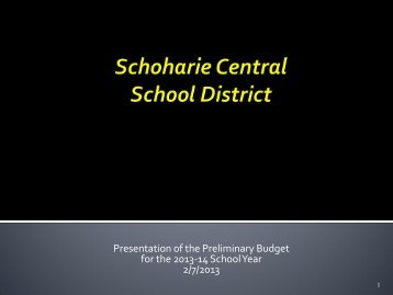 Presentation of the Preliminary Budget for the 2013-14 School Year ...