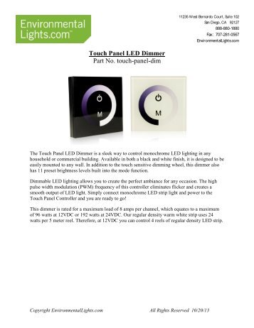 Touch Panel LED Dimmer Manual - LED Lighting