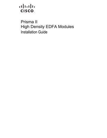 Prisma II High Density EDFA Modules Installation Guide