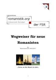Wegweiser für neue Romanisten - Universität Potsdam