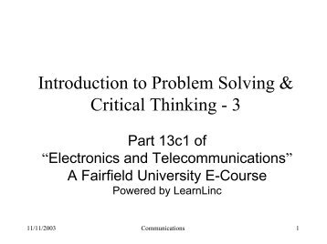 Introduction to Problem Solving & Critical Thinking - 3