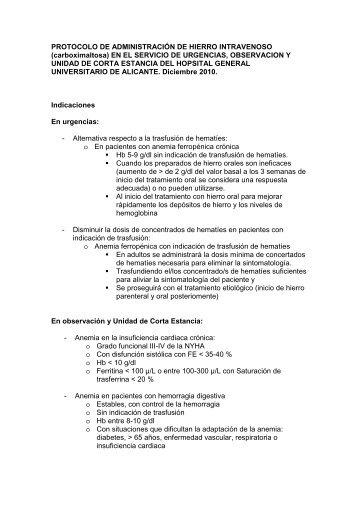 protocolo de hierro-carboximaltosa intravenoso