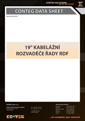 """CONTEG DATA SHEET 19"""" KABELÁŽNÍ ROZVADĚČE ŘADY RDF"""