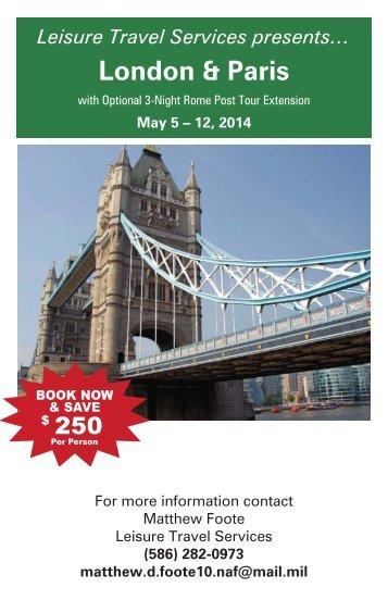 LONDON & PARIS $3699 - 8 days, 10 meals, 5 - 12 MAY 2014
