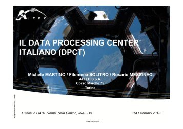 il data processing center italiano (dpct) - Osservatorio Astronomico ...
