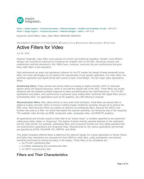 Active Filters For Video Reference Design Maxim