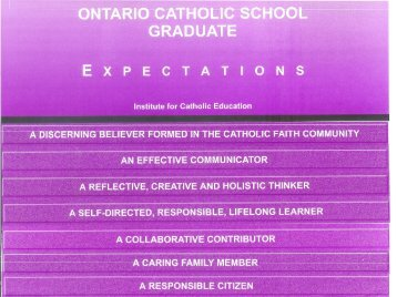Catholic Graduate Expectations - the York Catholic District School ...