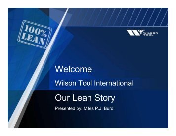 Welcome Our Lean Story