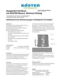 Saugwinkel-Verfahren mit KÖSTER Mautrol Bohrloch-Flüssig
