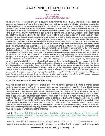AWAKENING THE MIND OF CHRIST - Feasting at the King's Table
