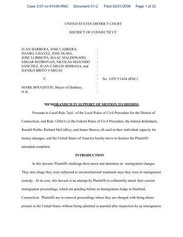 Defendants' Motion to Dismiss for Lack of Subject Matter Jurisdiction