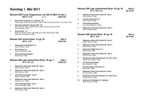Sonntag 1. Mai 2011 - Ruder-Gesellschaft Lauenburg