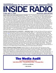 Friday, April 17, 2009 Newsroom: (800) 290-6301
