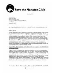 Read SMC's comment letter on this issue - Save the Manatee Club