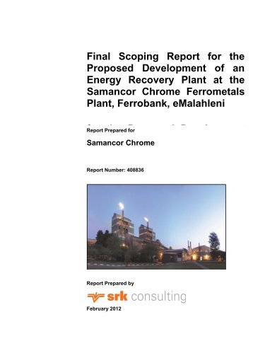 Final Scoping Report for the Proposed ... - SRK Consulting