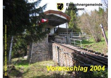 Voranschlag 2004 - Unterseen