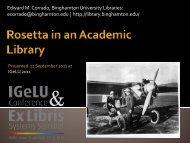 Rosetta in an academic library - IGeLU