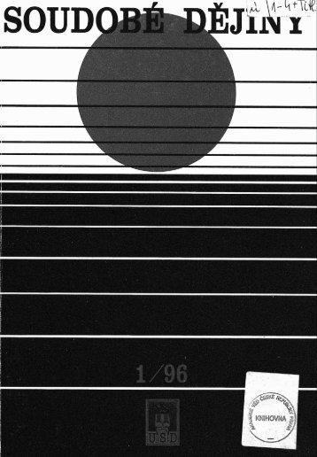 Soudobé dějiny č. 1/1996 - Ústav pro soudobé dějiny AV