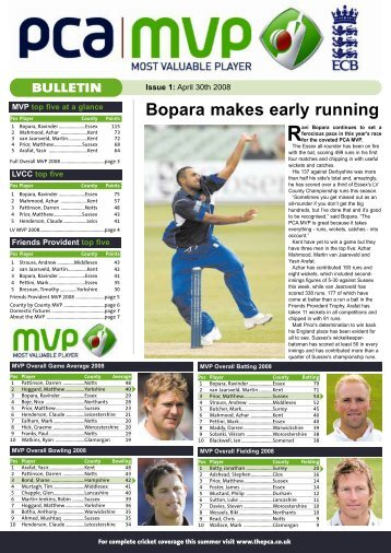 issue 1 - The Professional Cricketers' Association